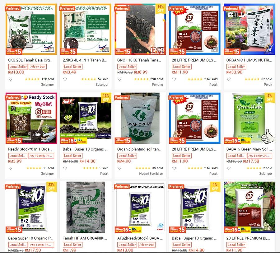 Shoppee Organic Planting Soil List